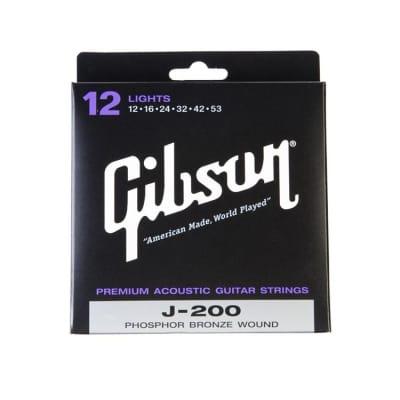 Gibson J200 Phosphor Bronze Acoustic Strings Lights 12-53 for sale