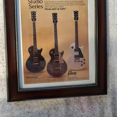 1984 Gibson Guitars Color Promotional Ad Framed Les Paul Studio Introduction Year Original