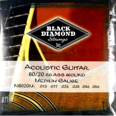 Black Diamond Strings 80/20 Brass Wound Acoustic Guitar Strings 13-56 for sale