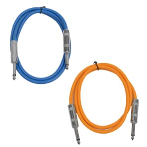 """Seismic Audio SASTSX-2-BLUEORANGE 1/4"""" TS Male to 1/4"""" TS Male Patch Cables - 2' (2-Pack)"""