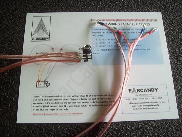 Earcandy 2x12 guitar speaker cab 14 gage wiring harness two reverb earcandy 2x12 guitar speaker cab 14 gage wiring harness two 16 ohm speakers to 8 ohms no soldering greentooth Choice Image