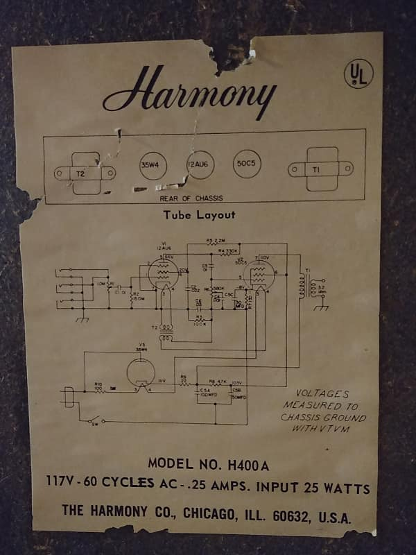 Harmony H400A 1968 Black   Kentucky Music Company on peavey bandit 75 circuit diagram, pot and gretsch guitar tone switch wiring diagram, peavey vk 112 layout diagram, peavey horizon ii wiring diagram, fender blues junior tube diagram, peavey classic 30 tube diagram,