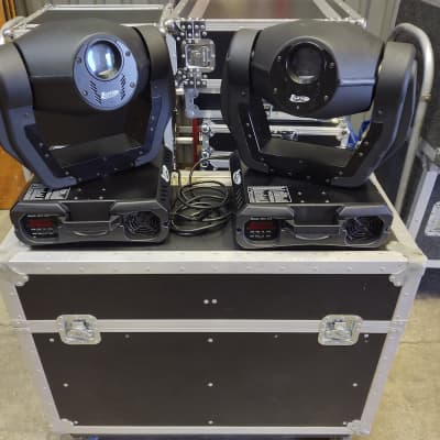 Pair Elation Color Spot 250 DMX Moving Light Head (Made by Robe) w/ Road Case