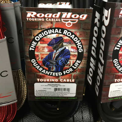 """Road Hog HOG-10BR 10' 1/4"""" Instrument Cable with 1 Right Angle"""