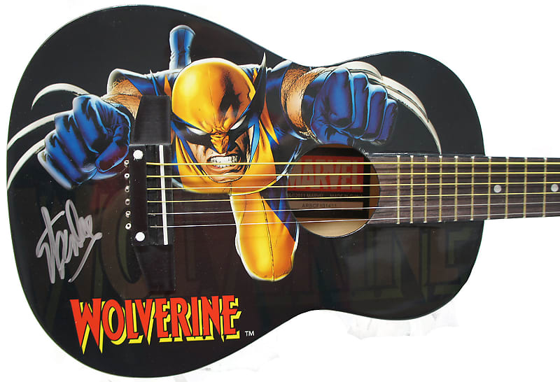 Peavey Marvel X-Men Wolverine Graphic 1/2 Size Acoustic Guitar Signed by Stan Lee with Certificate of Authenticity