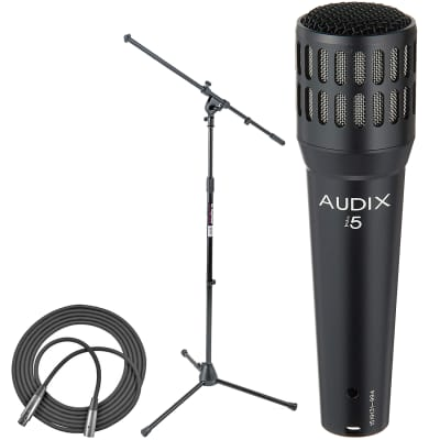 Audix I5 Dynamic Instrument Microphone + On Stage Euro Boom Microphone Stand + XLR Mic Cable