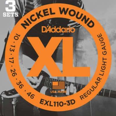 D'Addario EXL110-3D Nickel Wound Electric Guitar Strings, Regular Light, 10-46, ...