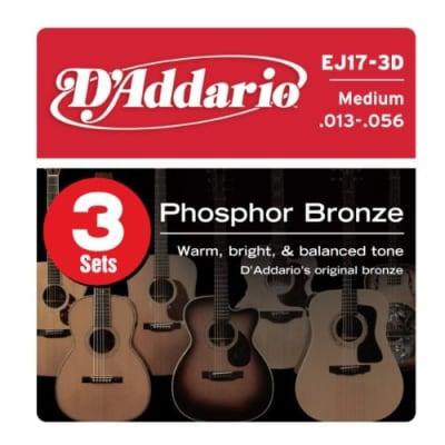 D'Addario EJ17-3D Acoustic Guitar Strings (Pack of 3) for sale