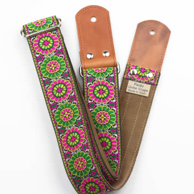 Pardo Guitar Strap Green & Rose Suede Hippie Vintage Style For Guitar & Bass