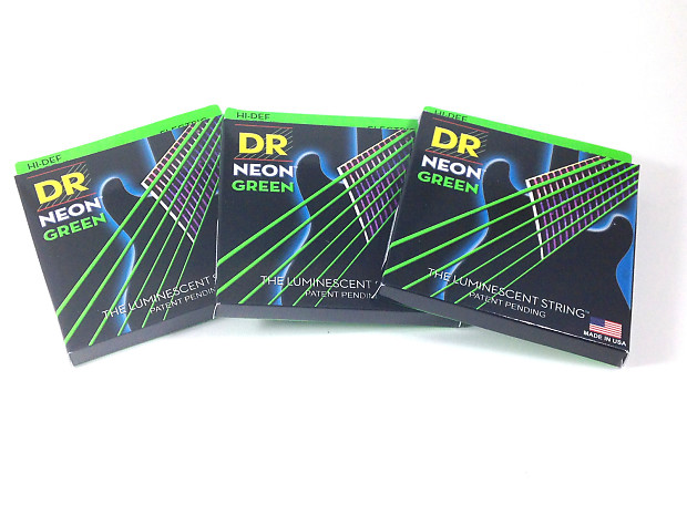dr guitar strings 3 pack electric neon green 09 46 light tops reverb. Black Bedroom Furniture Sets. Home Design Ideas