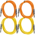 """4 Pack of 6 Foot 1/4"""" TS Patch Cables 6' Extension Cords Jumper - Orange & Yellow image"""