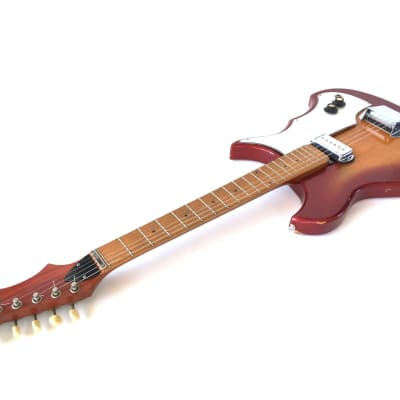 Vintage 1960's Mr. Peters Batwing Electric Guitar Rare SCEUSA Prototype Fire Red Glow Rekcabnekcir® for sale
