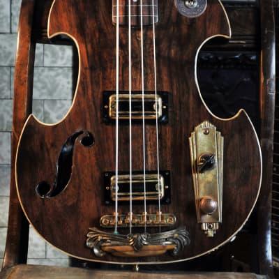 Postal Handmade Walnut Fretless Violin Bass 2019 Continental Flyer matched TV Jones Thunder'Trons for sale