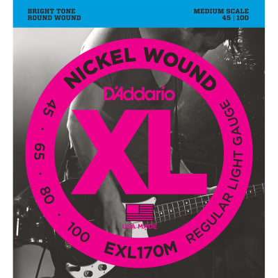 D'Addario EXL170M Regular Light Nickel Wound Medium Scale Bass Strings 45-100