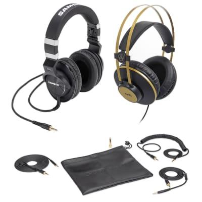 Samson Z-55 Studio Headphones, Closed-Back w/Lambskin Pads+AKG Headphones