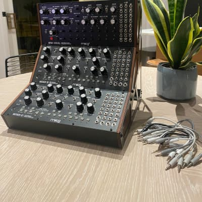 Moog Semi-Modular Package w/ 2x Mother-32, 1x DFAM, 3-Tier Rack Kit & 12 x Patch Cables