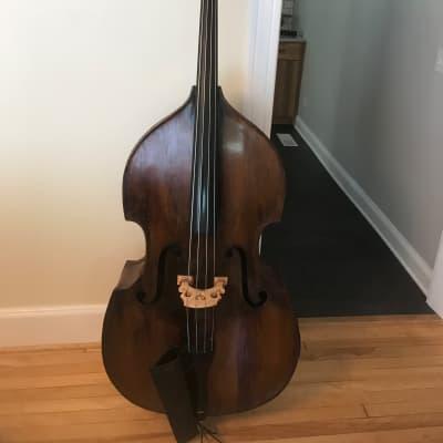 1930s Czech 7/8 Fully Carved Roundback Upright Bass