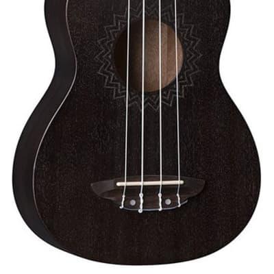 Luna UKE VMS BKS Ukulele Uke Vintage Mahogany Soprano Black Satin for sale