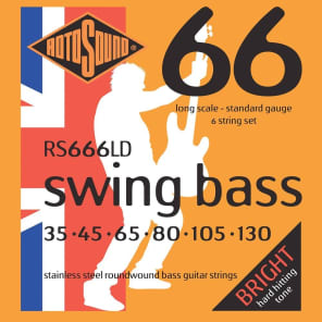 Rotosound RS666LD Swing Bass 66 Stainless Steel Roundwound 6-String Bass Strings - Standard (350-150)