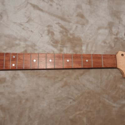"Strat Style CBS  Unfinished Neck Bubinga on Birdseye Maple 22 Medium Tall Frets C Profile 12"" Radius"