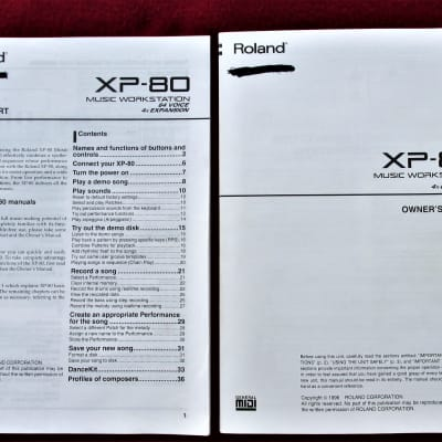 Roland XP-80 Manual-Roland XP-80  Workstation Synthesizer Original Instruction Manual & Quick Guide