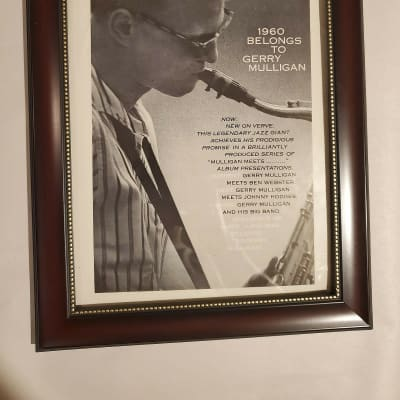 1960 Verve Records Promotional Ad Framed Gerry Mulligan Original
