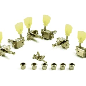 Kluson 3+3 Pearl Single Line Nickel Vintage Tuners Fits Gibson Les Paul, 335,  Flying V SD90SLN