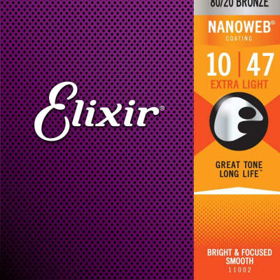 Elixir Strings 80/20 Bronze Acoustic Guitar Strings w NANOWEB Coating, Extra Light (.010-.047) for sale