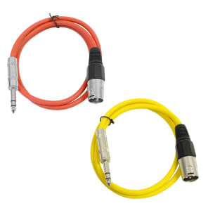 """Seismic Audio SATRXL-M2-REDYELLOW 1/4"""" TRS Male to XLR Male Patch Cables - 2' (2-Pack)"""