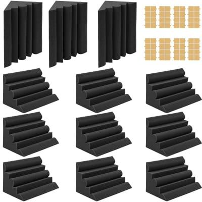 "12 Pack Set 7"" X 7"" X 12"" Acoustic Foam Bass Traps Corner Studio Foam with Adhesive Tape"