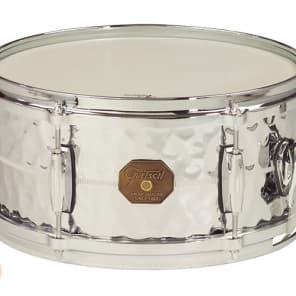 "Gretsch G4168HB USA Hammered Chrome Over Brass 6x13"" 6-Lug Snare Drum"