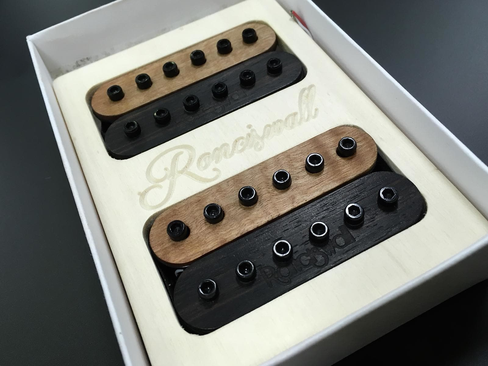 Ronciswall Ceramic Humbucker 6 set - Ebony & Flame Tanganika