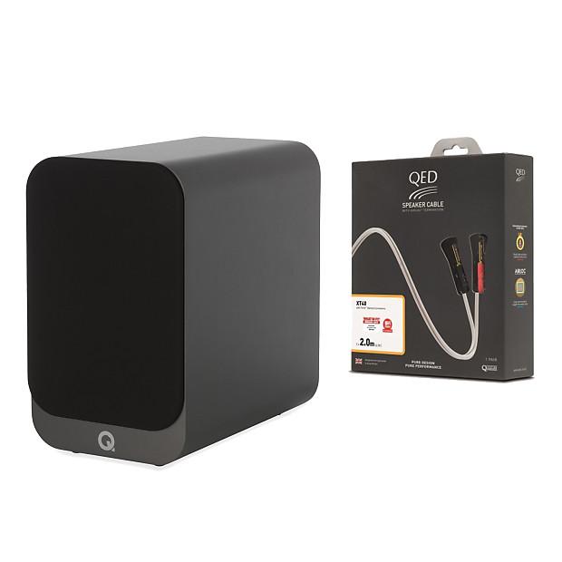 Q Acoustics 3020i Bookshelf Speaker Pair (GraphiteGrey) + QED Reference  XT40 Speaker Cables (2M)