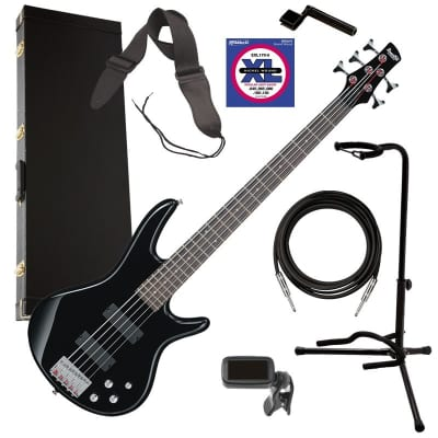 Ibanez GSR205 5-String Bass Guitar - Black COMPLETE BASS BUNDLE