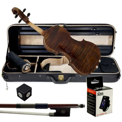 Paititi 4/4 Full Size PTVNSS100 Premium Hand Carved One-Piece Back Ebony Fitted Violin Outfit
