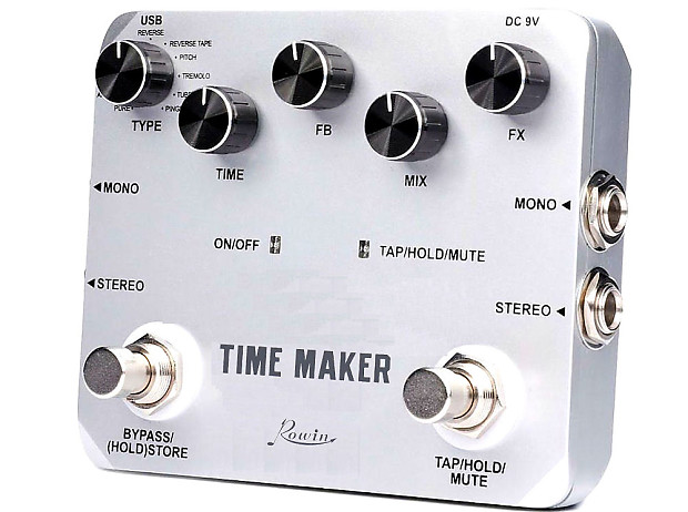 rowin ltd 02 time maker delay guitar effect pedal 11 types of reverb. Black Bedroom Furniture Sets. Home Design Ideas