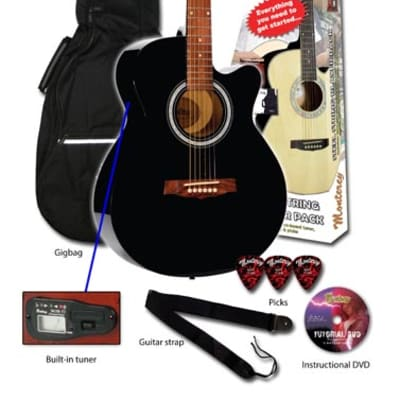 Monterey MAC-25 Acoustic Guitar Pack - Black - RRP: $219.95 - 45% OFF! for sale