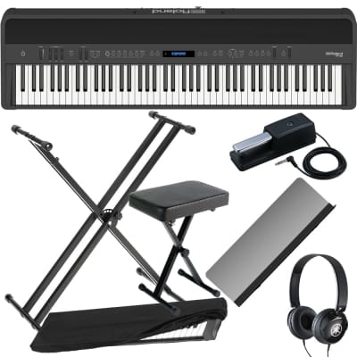 Roland FP-90 Black Portable Stage Piano with X Stand, Bench, Dust Cover and Headphones