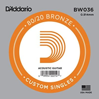 D'Addario BW036 Bronze Wound Single Acoustic Guitar String .036