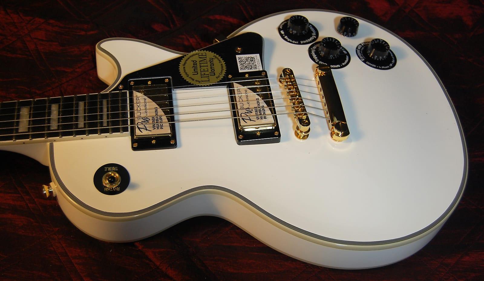 geweldige prijs 100% echt maat 40 MINTY! Epiphone Les Paul Custom Pro - Alpine White Finish - Authorized  Dealer - Save BIG!