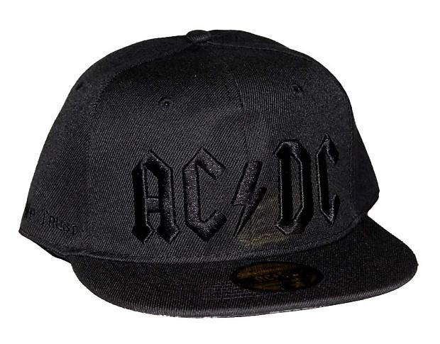 b4cab63c0e447 AC DC Black on Black Logo Flat Bill Snapback Hat