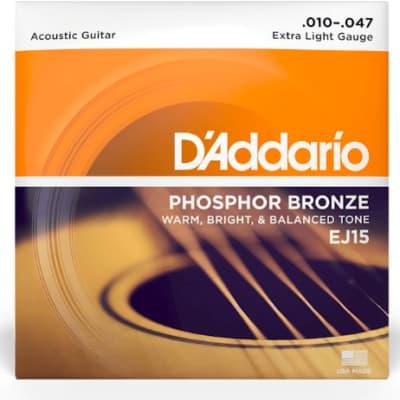 D'Addario EJ15 Phosphor Bronze Acoustic Guitar Strings, Extra Light 10-47
