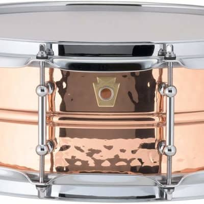 """Ludwig LC660KT Hammered Copper Phonic 5x14"""" Snare Drum with Tube Lugs"""