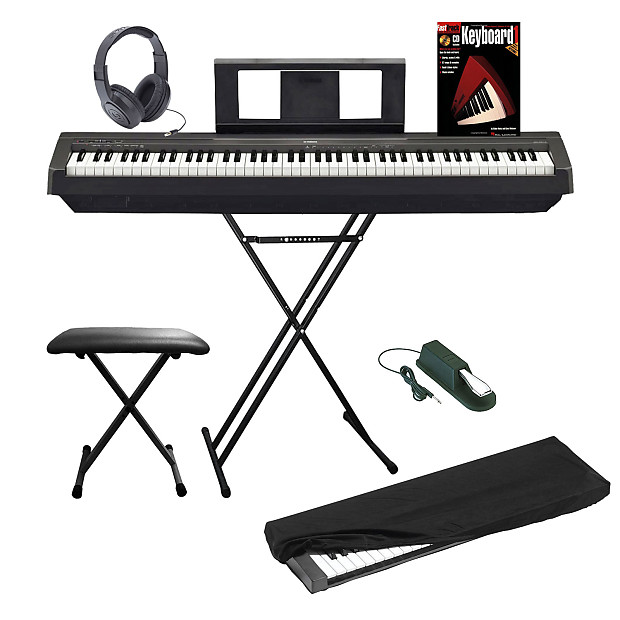 yamaha p45b digital piano keyboard bundle with stand bench reverb. Black Bedroom Furniture Sets. Home Design Ideas