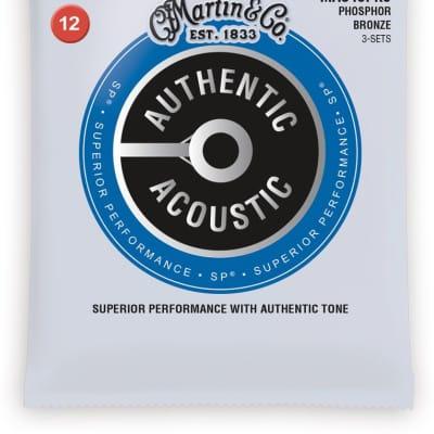 Martin MA540PK3 Authentic Acoustic Phosphor Bronze Guitar Strings - Light (3-Pack)
