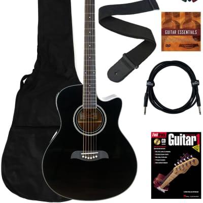 Oscar Schmidt OA10CE Mini Auditorium Cutaway Acoustic-Electric Guitar - Black Bundle with Gig Bag, Cable, Tuner, Strap, Picks, Instructional Book, DVD, and Austin Bazaar Polishing Cloth for sale