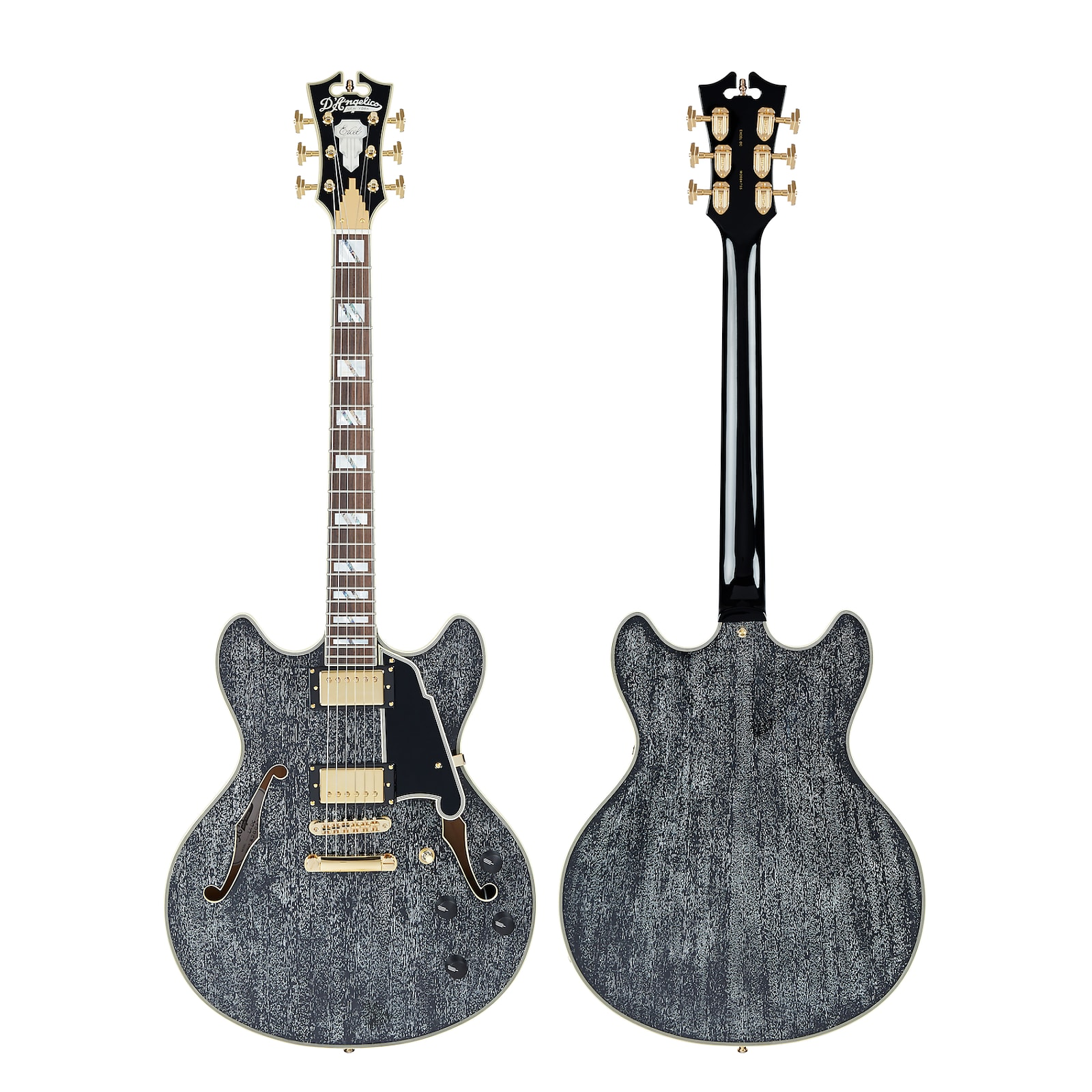 D'Angelico Excel DC Semi-Hollow Electric Guitar Black Dog w/ Gig Bag
