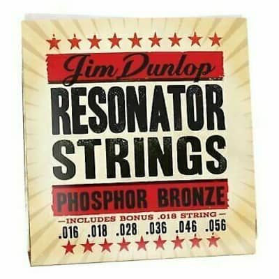 Dunlop DOP1656 Resonator Strings, Phosphor Bronze, Medium, .016-.056, 6 Strings/Set