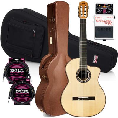 Cordoba GK Pro, Nylon String Acoustic-Electric Guitar – Spruce, Gator Lightweight Classical Guitar Case, BOSS TU-3 Tuner (TU3), (2) Ernie Ball Cables Bundle