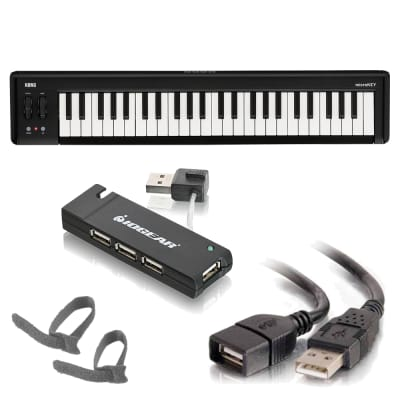 Korg microKEY2 - 49 - Key iOS-Powerable USB MIDI Controller with Pedal Input + Cable, Cable Ties + 4-Port Hi-Speed USB 2.0 Hub